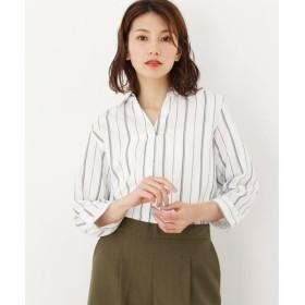 HusHusH / ハッシュアッシュ ストライプスキッパーシャツ(七分袖)