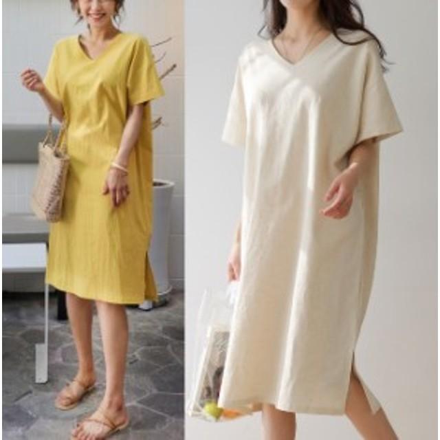 Iラインリネンワンピース ?ネック スリット 無地 シンプル 韓国ファッション 韓国ワンピース