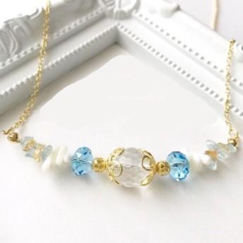 水晶・アクアマリン・シトリン・珊瑚のネックレス /海