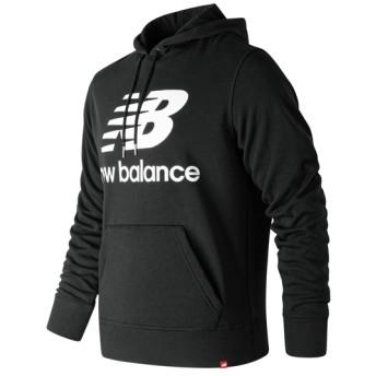 (NB公式) ≪ログイン購入で最大8%ポイント還元≫ エッセンシャルスタックドロゴプルオーバーフーディー (BK ブラック) 男性/メンズ/mens ニューバランス newbalance