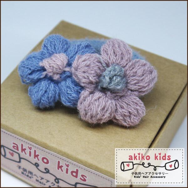 akiko kids手勾毛線甜美花朵造型兒童髮圈