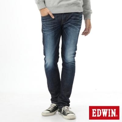 EDWIN EDGE LINE 雙層斜袋 窄直筒牛仔褲-男-原藍磨