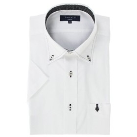 (TAKA-Q/タカキュー)形態安定スリムフィット ブートニー付ボタンダウン半袖シャツ/メンズ ホワイト