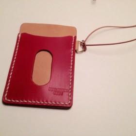 (受注製作)革のパスケース RED