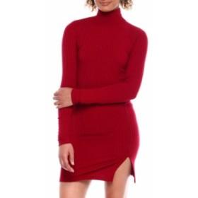 デレクハート DEREK HEART レディース ボディコンドレス ワンピース・ドレス l/s rib mock nk bodycon dress w/side frt slit Burgundy
