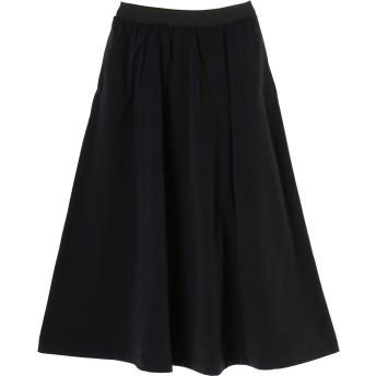 SALT+JAPAN アーティローザ裏毛フレアスカート ミモレ丈・ひざ下丈スカート,ブラック