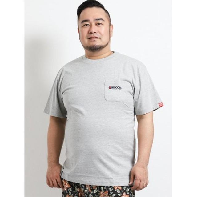 (TAKA-Q/タカキュー)【大きいサイズ】アウトドアプロダクツ/OUTDOOR PRODUCTS コットン天竺ポケット付クルーネック半袖Tシャツ/メンズ グレー
