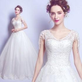 激安 ウェディングドレス ホワイト 結婚式 ブライズメイドドレス 二次会 パーティードレス 披露宴 司会者 XS-3XLサイズ ホワイト 白