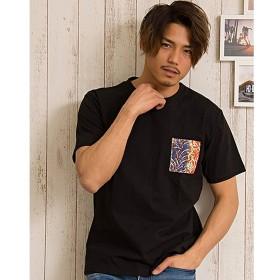 シルバーバレット CavariA柄ポケット切替クルーネック半袖Tシャツ メンズ ブラック系1 46(L) 【SILVER BULLET】