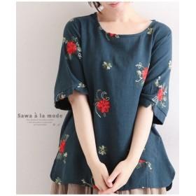 (Sawa a la mode/サワアラモード)ゆったりシルエットの花刺繍シャツ/レディース グリーン