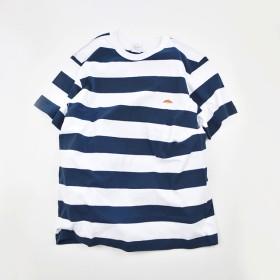 太ボーダーTシャツ【ネイビーXホワイト】;クロワッサン刺繍付き