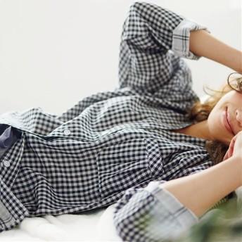 【レディース】 ダブルガーゼの巣ごもりパジャマ(綿100%) - セシール ■カラー:ギンガムチェック ■サイズ:M,LL,3L,L