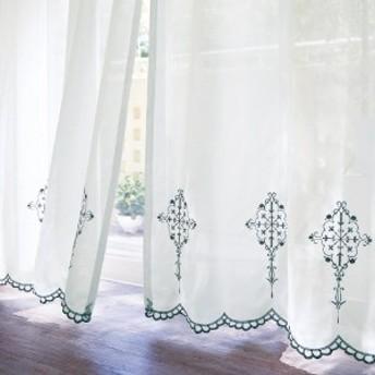 刺繍スカラップのUVカット・遮像ボイルカーテン