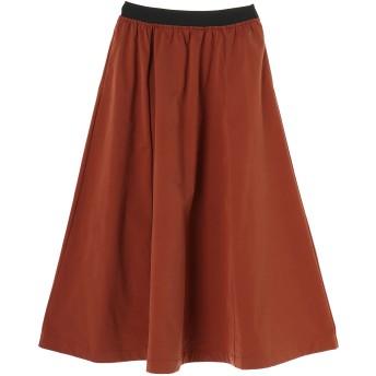 SALT+JAPAN アーティローザ裏毛フレアスカート ミモレ丈・ひざ下丈スカート,オレンジ