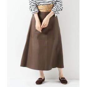 IENA IENA LA BOUCLE ラムレザースカート ブラウン 36