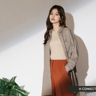 H:CONNECT 韓國品牌 女裝-格紋單口袋中長版襯衫-卡其