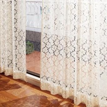 お花柄が繊細な綿混レースカーテン[日本製]