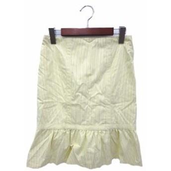 【中古】nanette lepore ナネットレポー ストライプ リボン ひざ丈 フレア スカート 4 イエロー ホワイト系