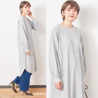 ワッフル素材の袖ボリュームワンピース