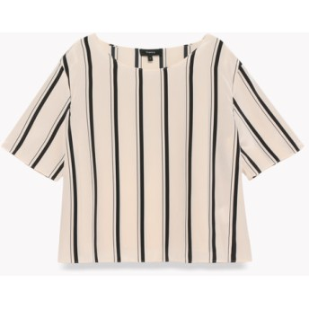 【Theory】Multi Stripe Easy Woven Tee Shirt
