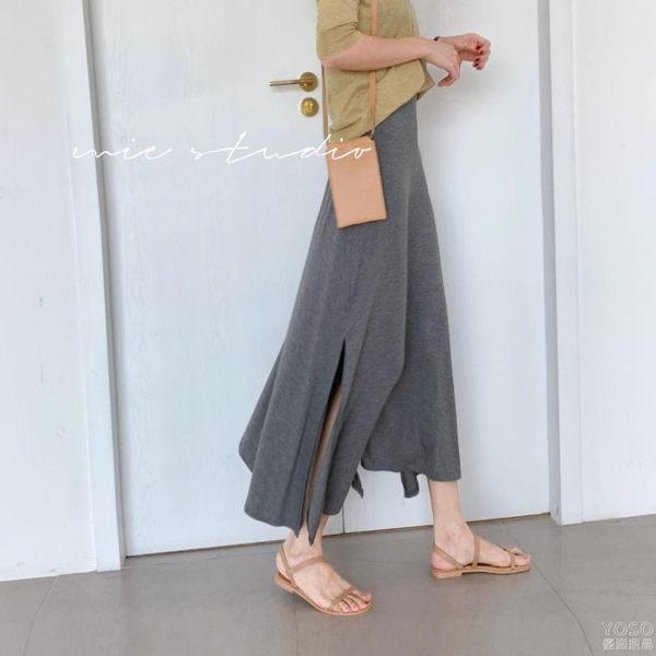 半身裙 韓國復古百搭高腰中長款半身裙女夏開叉黑色休閒直筒包臀長裙 『優尚良品』