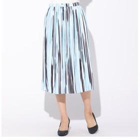 【J Lounge:スカート】グラデーションストライププリーツスカート