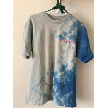 藍染Tシャツ L グレー、ピンクロゴ刺繍