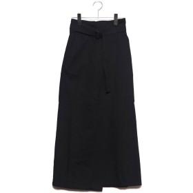 スタイルブロック STYLEBLOCK ツイルベルト付きタックロングスカート (ブラック)