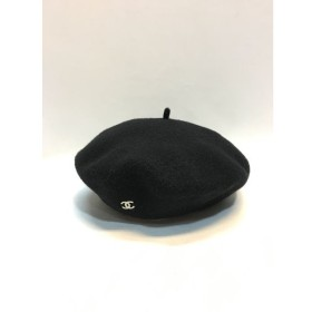 代官山)CHANEL シャネル ココマーク ワンポイント ベレー帽 ブラック ウール