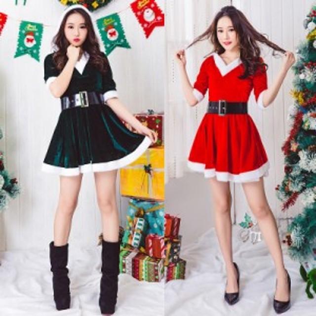 サンタ コスプレ サンタコス コスチューム 衣装 セクシー ワンピ クリスマス 2019 サンタクロース  緑 赤