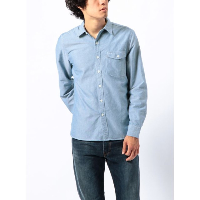 シャツ - BIRIGO リーバイス カジュアル メンズ シャツ LEVIS 65820-0002 ワンポケット ワークシャツ ベーシック 定番アイテム爽やかオシャレ 長袖 オックスフォード生地 綿 100%
