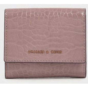 【2019 FALL 新作】クロックエフェクト クラシックショートウォレット / Croc-Effect Classic Short Wallet (Mauve)