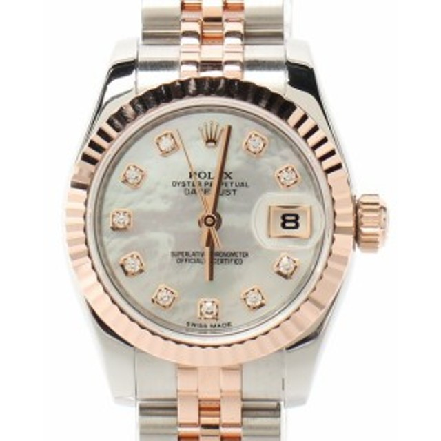 online retailer e50d5 2b95e 美品 ロレックス 腕時計 ダイヤ デイトジャスト 自動巻き シェル ...