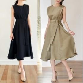 ノースリーブフレアワンピ 麻混 ラウンドネック ウエストリボン 韓国ファッション 韓国ワンピース