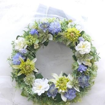 《エキナセアと青い花のリース》アーティフィシャルフラワー