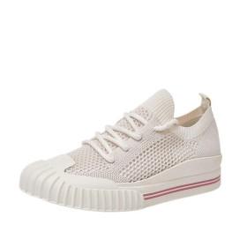 [AcMeer] レディース フラットシューズ ニットスニーカー 履き脱ぎしやすい 通気 軽量 ランニングシューズ スポーツ カジュアル 体育館 歩きやすい 軽量 歩きやすい 柔軟性 黒 白 ピンク 婦人靴
