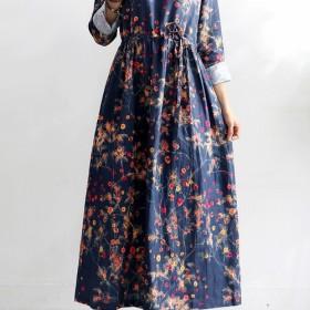 長袖 綿麻 花柄 気質 ゆったり レディース ファッション ワンピース 秋冬兼用