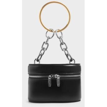 【2019 FALL 新作】パテントメタル トップハンドルジップアラウンドバッグ / Patent Metal Top Handle Zip Around Bag (B