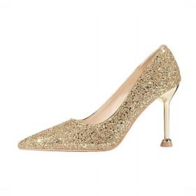 シューズ ファッション スリムスパンコールシングルシューズ宴会靴レディースセクシーな先のとがったスティレットヒール 快適 (色 : Golden, サイズ : 39)