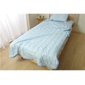 なめらか ブランケット/寝具 【ブルー】 シングル 約140cm×190cm 洗える 接触冷感 『モコ 合わせケット』 〔寝室〕