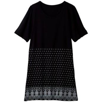 50%OFF【レディース大きいサイズ】 Tシャツ(綿100%・L-10L) - セシール ■カラー:ブラックA ■サイズ:5L,9L-10L,7L-8L,LL,6L,L,3L,4L
