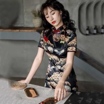 チャイナドレス ワンピース パーティー チャイナ風服 中華服 女子会 半袖 膝丈 大きいサイズ S M L LL 3L ブラック 黒い 虎模様qp
