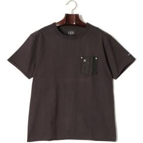 【60%OFF】ポケット切替 クルーネック 半袖Tシャツ ブラック s