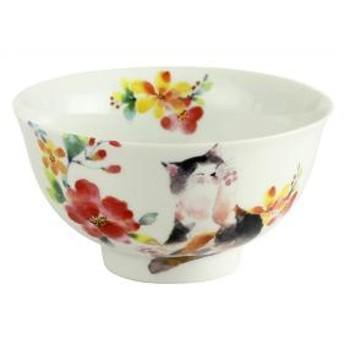 花猫 飯碗 ブルー