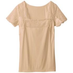 【レディース】 スマートドライ® 汗取りパッド付きフレンチ袖(大きな強力汗取りパッド付き・綿100%・レースタイプ) - セシール ■カラー:ベージュ ■サイズ:S,LL,L,3L,5L,M