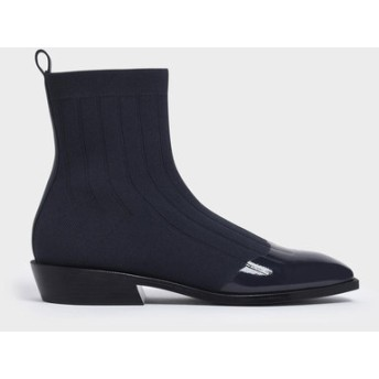 【2019 FALL 新作】ニット カーフブーツ / Knitted Calf Boots (Dark Blue)