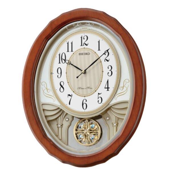 Seiko 精工鐘 (QXM351B) 古典優雅歐洲搖擺橢圓形音樂鐘/43.3*34.3*8.5 cm