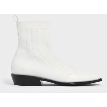 【2019 FALL 新作】ニット カーフブーツ / Knitted Calf Boots (White)
