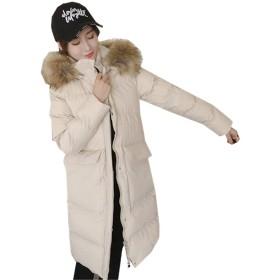 [イダク] レディース 冬 アウター ロング ダウンコート 中綿 防寒 コート 女性用 フード付く 大きいサイズアプリコットXL