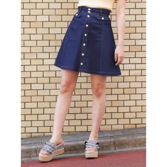 [dazzlin]デニムフロントボタンミニフレアスカート
